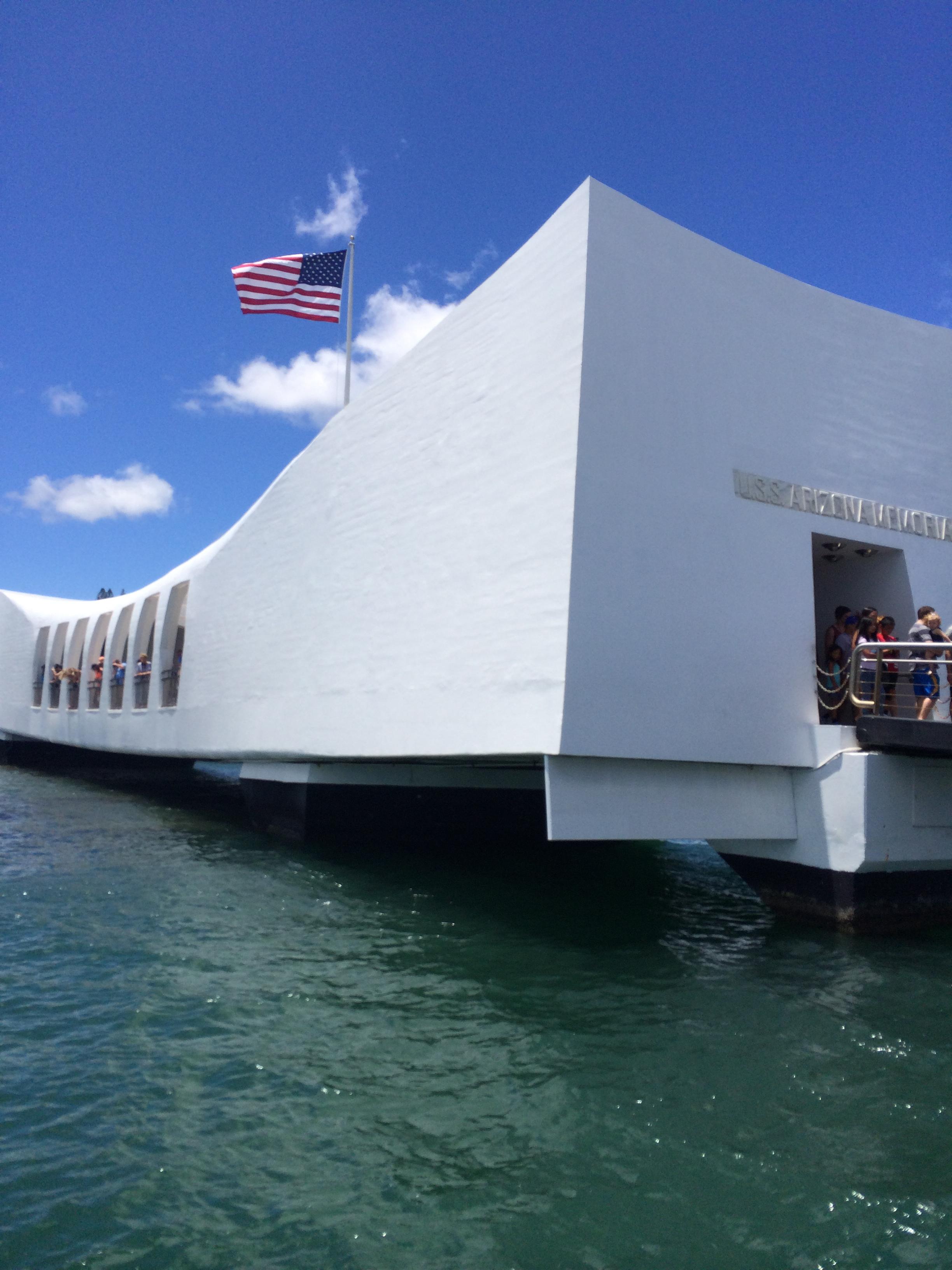 USS Arizona floating memorial.